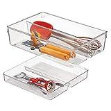 mDesign Cubertero doble para cajones de cocina - Bandeja para cubiertos con 4 compartimentos - Ideal para espumaderas, cucharones y utensilios de cocina - Dos pisos - Transparente