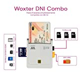 Woxter Lector Dni Combo - Lector DNI electrónico, compatible con las tarjetas Smart Cards o tarjetas inteligentes, con 3 ranuras para tarjetas , color blanco