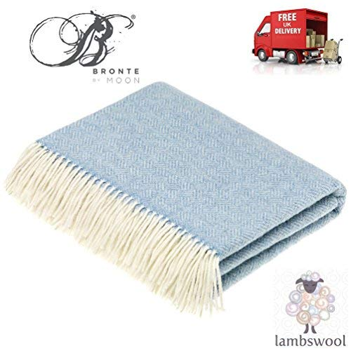 Bronte parquet Aqua blu morbida lana coperta 100% lana vergine Lune