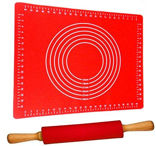 Teigroller mit Backmatte Silikon Groß Rot | Antihaft - BPA frei | Hitzebeständig | Nudelholz 40cm mit Teigmatte 60x40cm Set