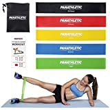 Fasce Elastiche di Resistenza / Bande Fitness con Guida Scaricabile agli Esercizi e Sacchetto, Set di 5 Elastici -- 5x cinghia, banda, fascia elastica per...