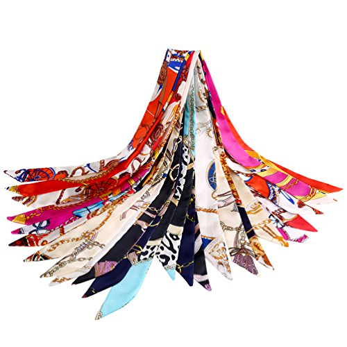 Vbiger Halstuch Damen Seidentuch Damen Halstuch Damen Seide 100 x 4cm 12 Stück
