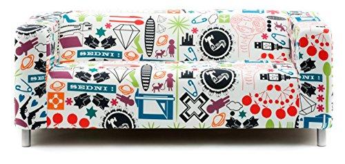 Artefly Copridivano per Divano Klippan e Federa per Cuscino, Linea: Time Flies Adatto per divani Ikea Klippan da 2 posti