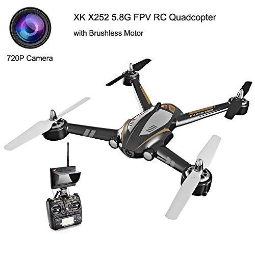 LIDI X252 5.8G FPV 7CH 6-Axis Gyro Drone RC Quadcopter RTF 1804 Motore Brushless, con Telecamera 720P -Nero