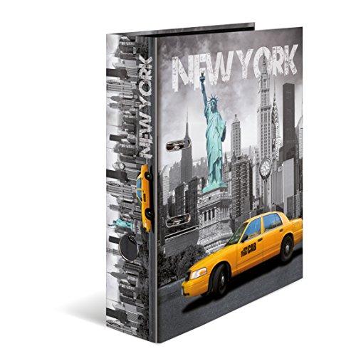 Herma 7171 Karton Motivordner DIN A4, Serie Städte, Design USA New York, 70 mm breit, 1 Ordner, mit Innendruck