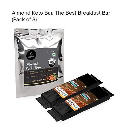 Grow Fit Assorted Keto Bars - 2 Best Breakfast Bar & 2 Almond Keto Dark  Chocolate Bar  Sugar Free   Made with Almonds, Dark Chocolate   Energy  Booster