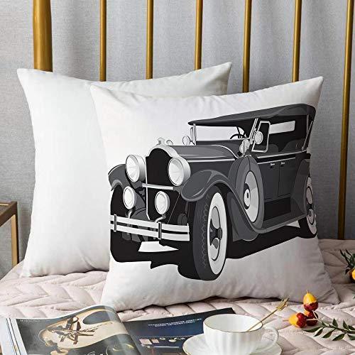 Creativo copricuscino,Automobili, Old Timer American Black Car Classica Urban Travel Nostalgic...