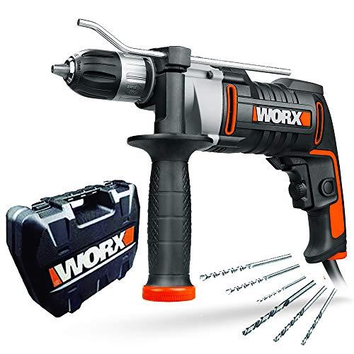 WORX WX318 Schlagbohrmaschine 810W mit robustem Metall-Getriebegehäuse, stufenloser Drehzahlregulierung, Tiefenanschlag, werkzeuglosem Bohrfutter uvm. - Exaktes Bohren in Holz, Beton & Stahl