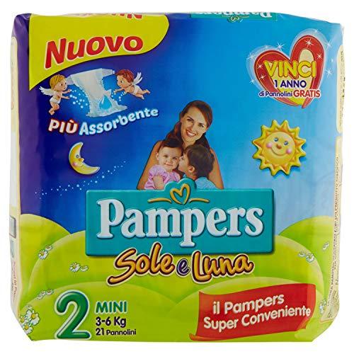 Pampers Sole e Luna Pannolini Mini, Taglia 2 (3-6 kg), 21 Pannolini