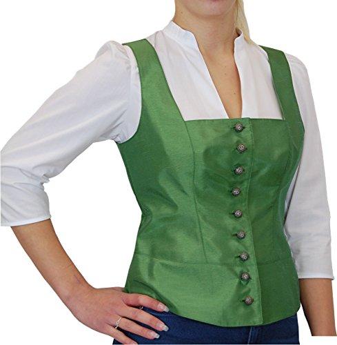 Trachtenmieder Corsage Spencer NELLY von Landhaus Tracht by Hiebaum in Seidenoptik, Größen:38;Farben:grün