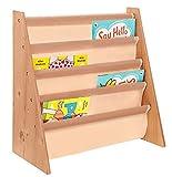 Colorida estantería infantil de madera estilo revistero, de Livivo. Biblioteca de madera de fácil acceso con estantes con suave tejido de nailon para proteger los libros de tus niños. Tiene la altura perfecta para los jóvenes lectores