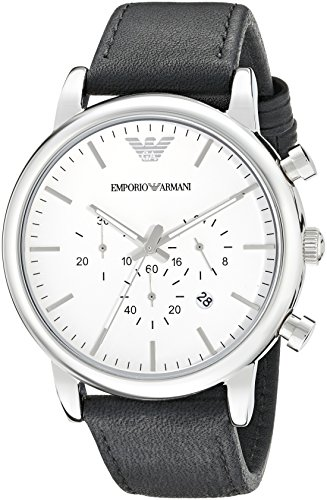 Emporio Armani - Orologio da uomo cronografo quadrante bianco cinturino in pelle - AR1807