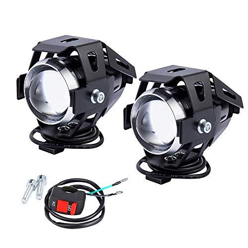 2 PCS Fari Moto Faretto Anteriore U5 LED con Interruttore On Off Fanale Lampada Universale per Moto...