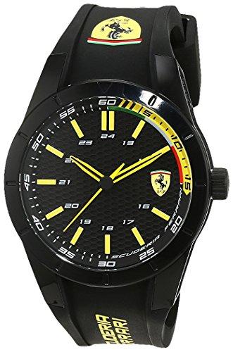 Orologio uomo analogico al quarzo cinturino in silicone nero, Scuderia Ferrari 0830302