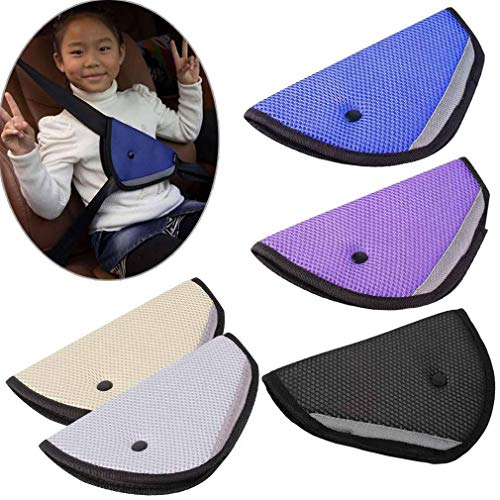 Luvina Seat Belt Adjuster, Car Safety Cover Strap Adjuster Pad Harness, Comfortable Protection for Adult Children Keep Belt Away from Neck and Face, Made of Air Mesh Fabric