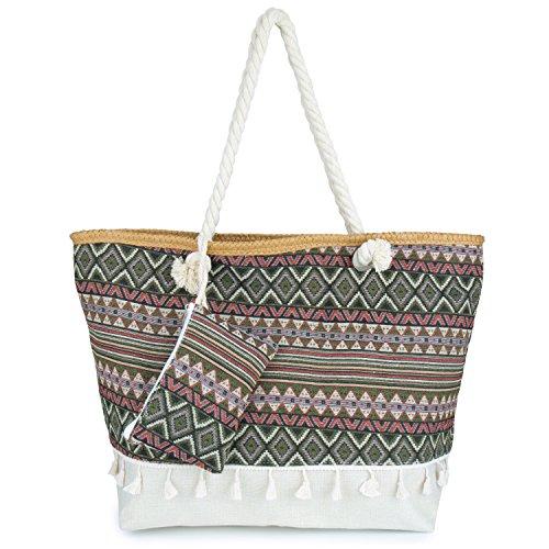 Große Strandtasche mit Reissverschluss, ZWOOS Damen Shopping Shopper Tasche Reisetasche Canvas Schultertasche für Reise, Kaufen, Ausflug usw. (Böhmen 3)