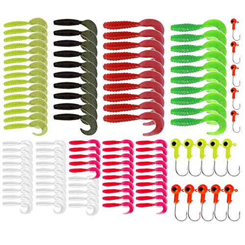 YYYY Kit di Esche Artificiali di Pesca 100 Esche Morbide + 15 Teste Piombate