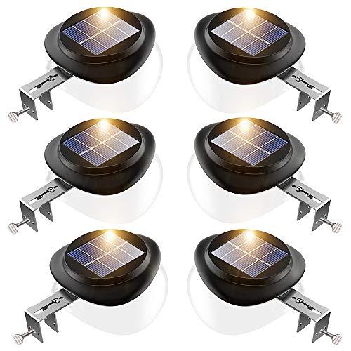 JSOT Solarlampen für Außen - Solarleuchte Garten 6 Stück 9 LED Solarzaunleuchten IP55 Solarleuchte Aussen 100LM Außenwand Dekorative Solarlicht für Garten, Terrasse, Gehwegen,Hof (Weißes Licht)
