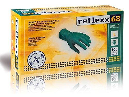 Reflexx R68, Guanti in Nitrile senza Polvere Gr. 6, 100 Pezzi, Verde