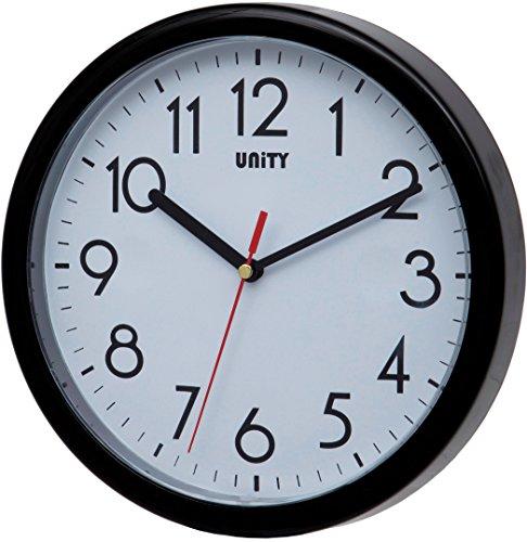 Unity Hastings 22cm 21,8cm Moderno Orologio da Parete Silenzioso, plastica, Nero, 22 x 22 x 5 cm