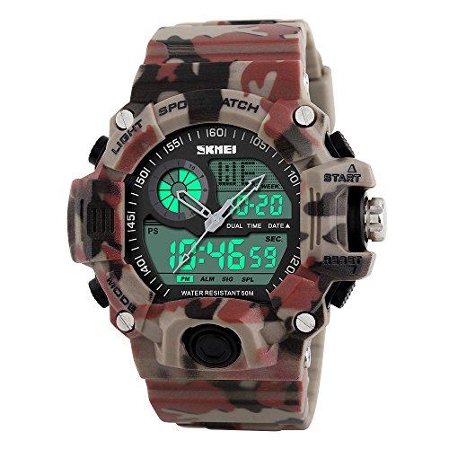 Hombre al aire libre deporte reloj casual militar analógico LED impermeable