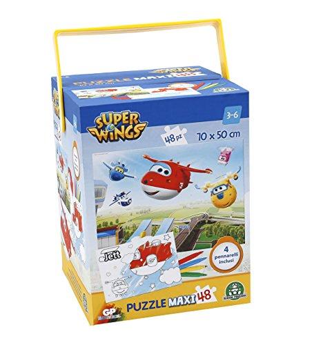 Giochi Preziosi - Super Wings Puzzle con Pennarelli, 48 Pezzi