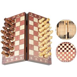 3-in-1 Scacchi Dama e Backgammon in Legno con Confezione Portatile