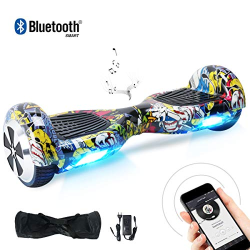 BEBK Hoverboard 6.5' Smart Self Balance Scooter con Bluetooth,Overboard con LED Autobilanciato...