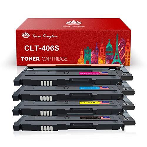 Toner Kingdom 4 Pack kompatibel Tonerpatronen für Samsung CLT-P406C CLT-K406S CLT-C406S CLT-M406S CLT-Y406S Tonerpatronen für Samsung Xpress C410W C460 C460W, CLP-360 CLP-365 CLX-3300 3305 Drucker