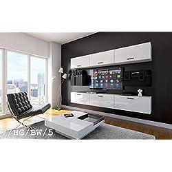 FUTURE 7 Wohnwand Anbauwand Wand Schrank TV-Schrank Möbel Wohnzimmer Wohnzimmerschrank Hochglanz Weiß Schwarz LED RGB Beleuchtung (7/HG/BW/5, LED weiß)