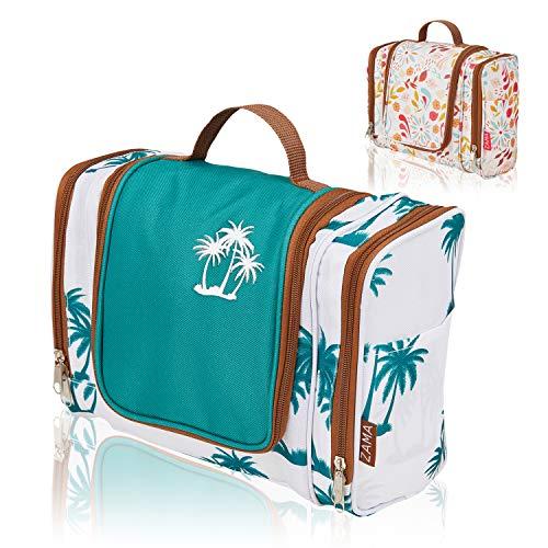 ZAMA XXL Design Kulturtasche   Kulturbeutel zum aufhängen mit Haken und Henkel für Damen und Herren   Kosmetiktasche aufklappbar, groß, leicht für Koffer