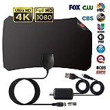 Antenne TV Intérieur Puissante, Amplifiée 120 Miles Range HDTV Antenne TNT Numérique avec Signal Amplificateur Booster 12FT Câble Coaxial, Soutien Smart TV HD 4K 1080P VHF UHF FM