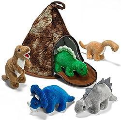 Prextex Casa Volcán de Dinosaurio con 5 Dinosaurios de Peluche - Gran Niños y Niñas