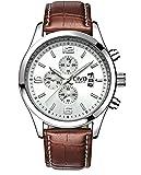 CIVO Men's White Decorative Sub Dial Japan Movement Luxury Brown Leather Band Wrist Watch Men Waterproof Business Casual Dress Watches Classic Simple Design Analogue Quartz Wristwatch for Men