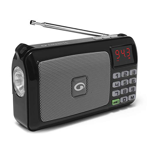 Amkette Pocket FM Radio for Homes with Digital Display, External Antenna, USB and SD Card Playback Support, and A Powerful LED Flashlight (Black) (1 Year Warranty)