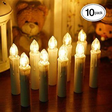 ShinePick Guirlande Lumineuse de Noël avec 10 Bougies Crèmes LED pour Sapin (Blanc Chaud,Multicolore)