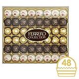 Ferrero Collection Chocolate Gift Set, Includes Ferrero Rocher, Rondnoir, and Raffaello, Assorted Milk Chocolate, Dark Chocolate and Coconut, and Almond Pralines, Box of 48 Pieces