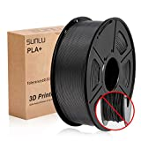 SUNLU 3D Printer Filament PLA Plus, 1.75mm PLA Filament, 3D Printing Filament Low Odor, Dimensional Accuracy +/- 0.02 mm, 2.2 LBS (1KG) Spool 3D Filament,Black PLA+