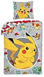 Funda nordica edredon Pokemon Pikachu 140x200cm 100 por cien algodon reversible