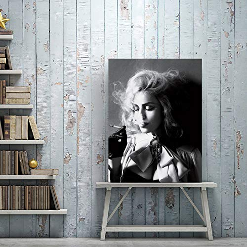 tzxdbh Stampe Moderne di Poster in Bianco e Nero Wall Art Canvas Painting Belle Donne Fumo di...