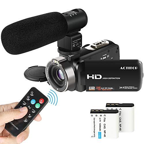 Videocamera Digitale, ACTITOP Videocamera FHD 1080p 24MP Zoom Digitale 16x con Microfono Esterno e...