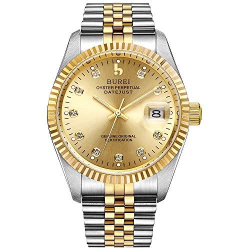 BUREI Herrenuhr mechanische Automatik Armbanduhr 24 Dial Analog Display Automatikuhr Lederband Edelstahlarmband Wasserdicht Stylish Armbanduhren (Golden)