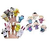 Marionetas de Dedos, K-youth 16 PCS Story Finger Puppets 10 animales 6 personas Family Members Toy educativo Juegos del Bebé (A)