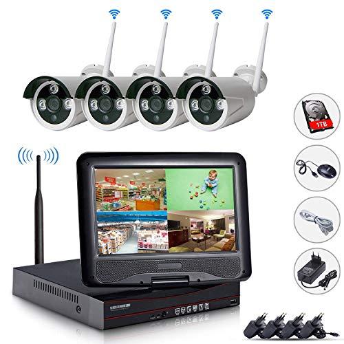 EDSSZ 4 canali NVR wireless WIFI Kit 10'Schermo LCD 1080P HD 960P IR Telecamera day/night vision IP Telecamera di sorveglianza P2P CCTV Costruito in un disco da 1TB