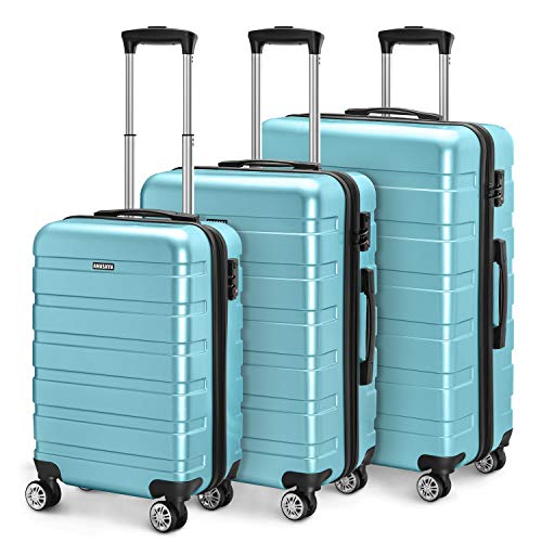 Amasava valigie rigide ABS+PC hard shell super leggero da viaggio Carry On trolley 8 ruote...