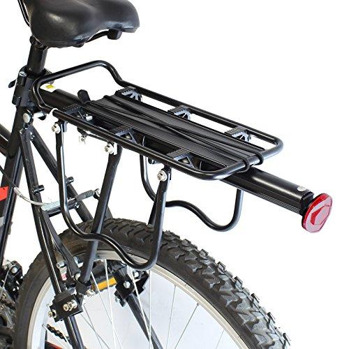 PedalPro portacesto posteriore regolabile per biciclette, con faro