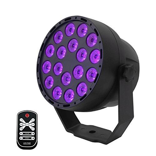 Luci Nera UV,7 Modalità Led Fase Lampada Effetto Luce,18 x 3W LED Luce Par Fari da Palco con...