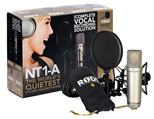 RODE NT1A microfono a diaframma largo per studi di registrazione / podcast, cavo, supporto, filtro...