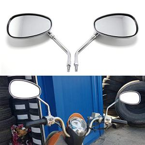 10mm Chrom Motorrad Rückspiegel Seitenstangen Spiegel für Chopper Street Sport Bike 8