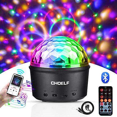 CHOELF Luci Discoteca LED, Palla da Discoteca e Luce Notturna con Altoparlante Bluetooth, 9 LED...